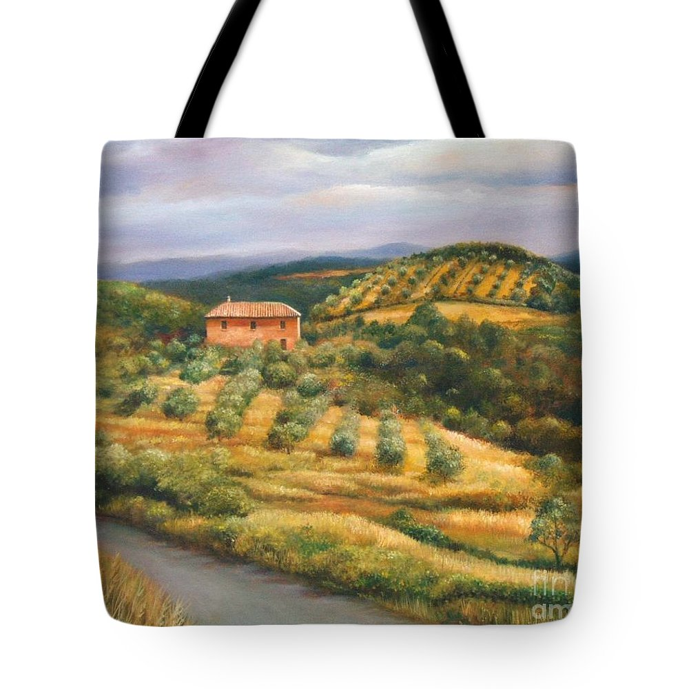 Landscape Tote Bag featuring the painting Tuscan Summer by Ann Cockerill