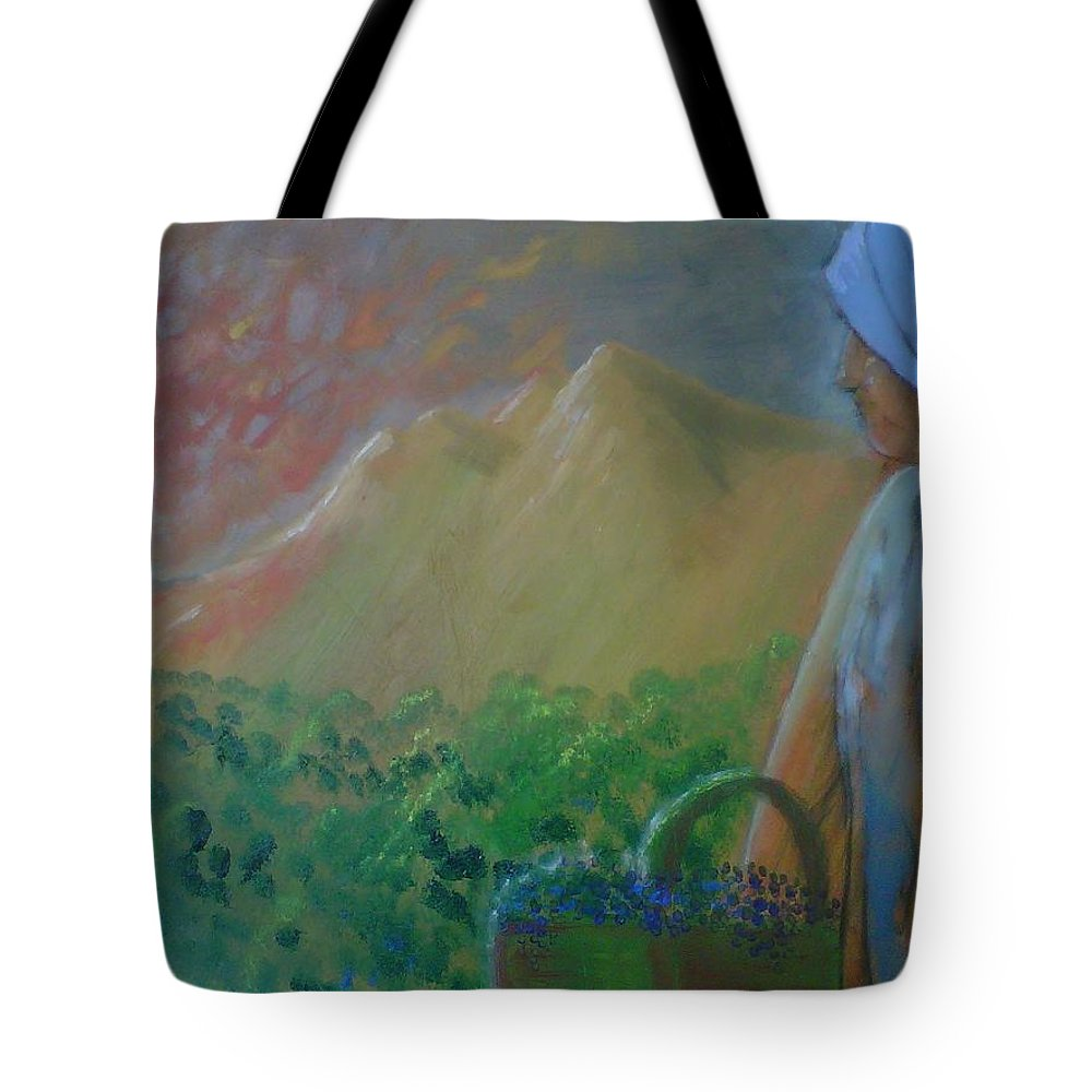 Sunset Tote Bag featuring the painting Tuscan Sunset by J Bauer