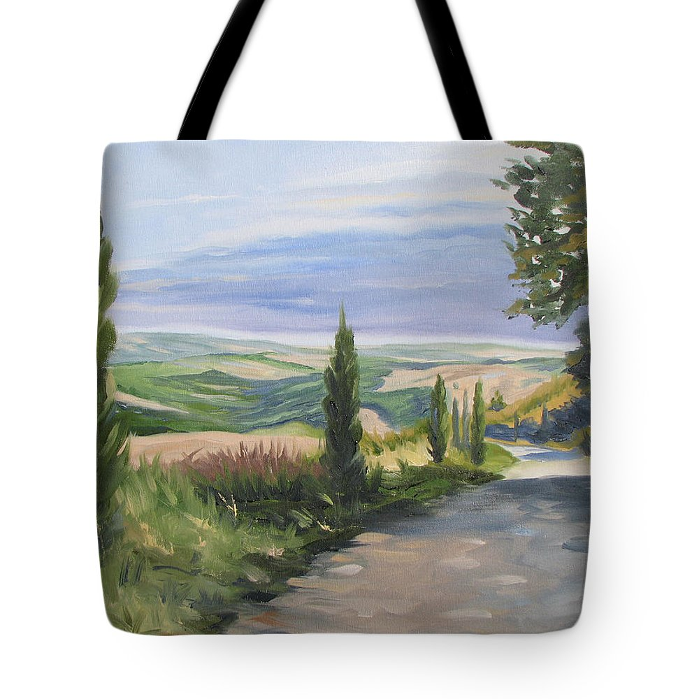 Landscape Tote Bag featuring the painting Tuscan Walk by Jay Johnson