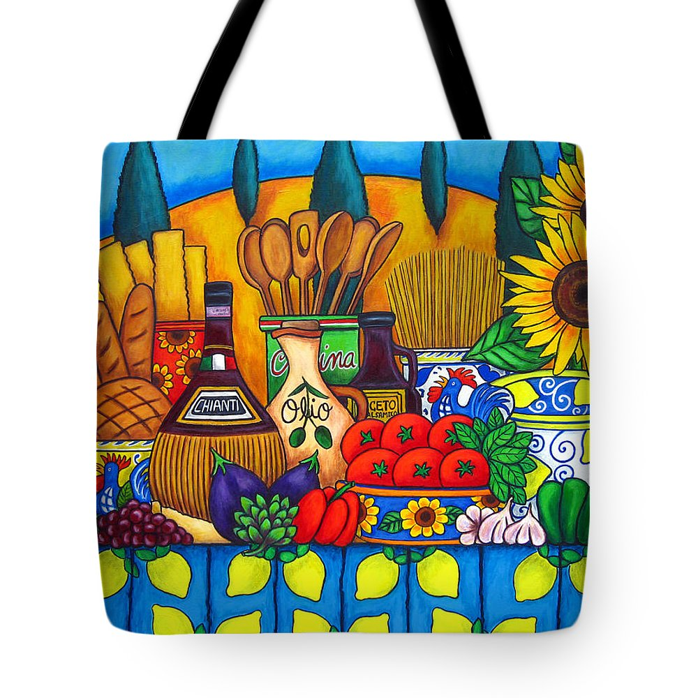 Still Life Tote Bag featuring the painting Tuscany Delights by Lisa Lorenz