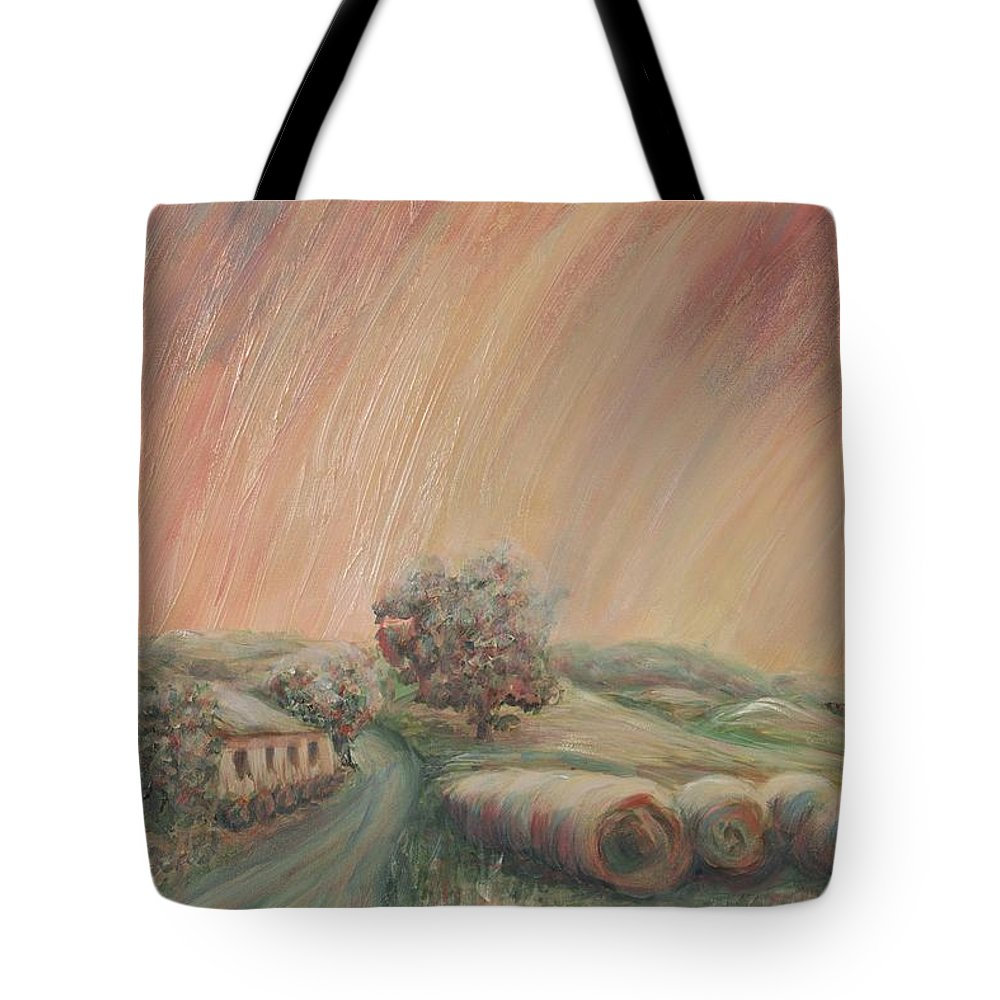 Landscape Tote Bag featuring the painting Tuscany Hayfields by Nadine Rippelmeyer