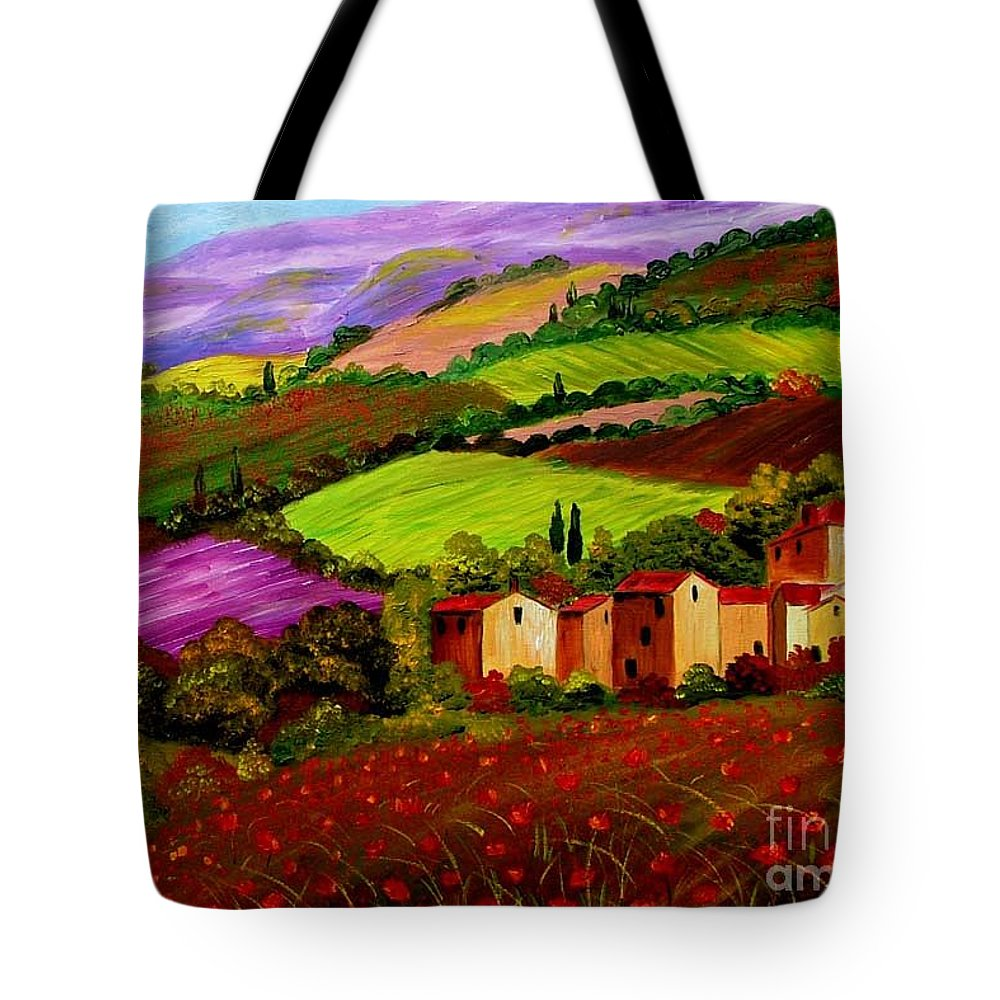 Tuscany Tote Bag featuring the painting Tuscany Landscape by Inna Montano