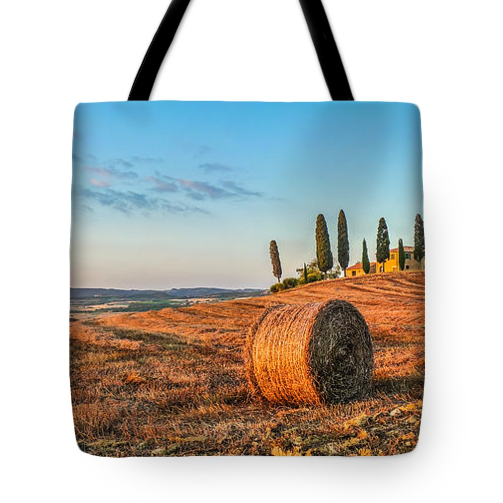 Agriculture Tote Bag featuring the photograph Tuscany Landscape With Farm House At Sunset, Val D'orcia, Italy by JR Photography