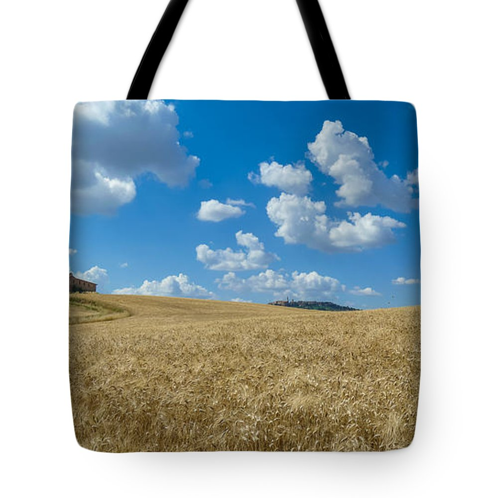 Agriculture Tote Bag featuring the photograph Tuscany Landscape With The Town Of Pienza, Val D'orcia, Italy by JR Photography