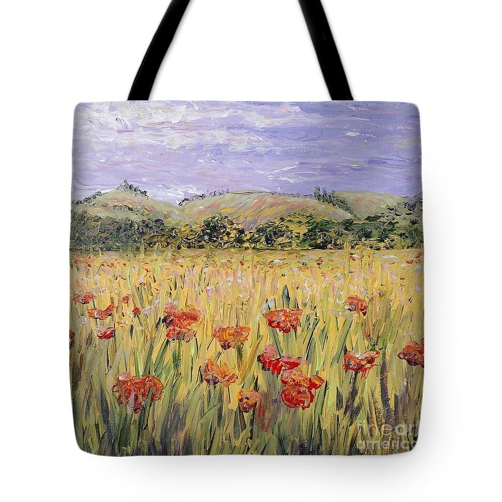 Poppies Tote Bag featuring the painting Tuscany Poppies by Nadine Rippelmeyer