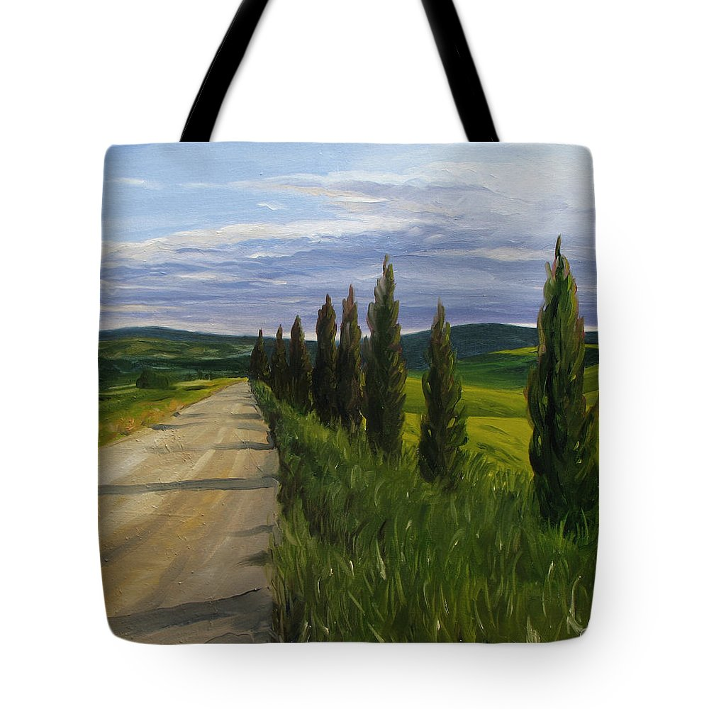 Tote Bag featuring the painting Tuscany Road by Jay Johnson