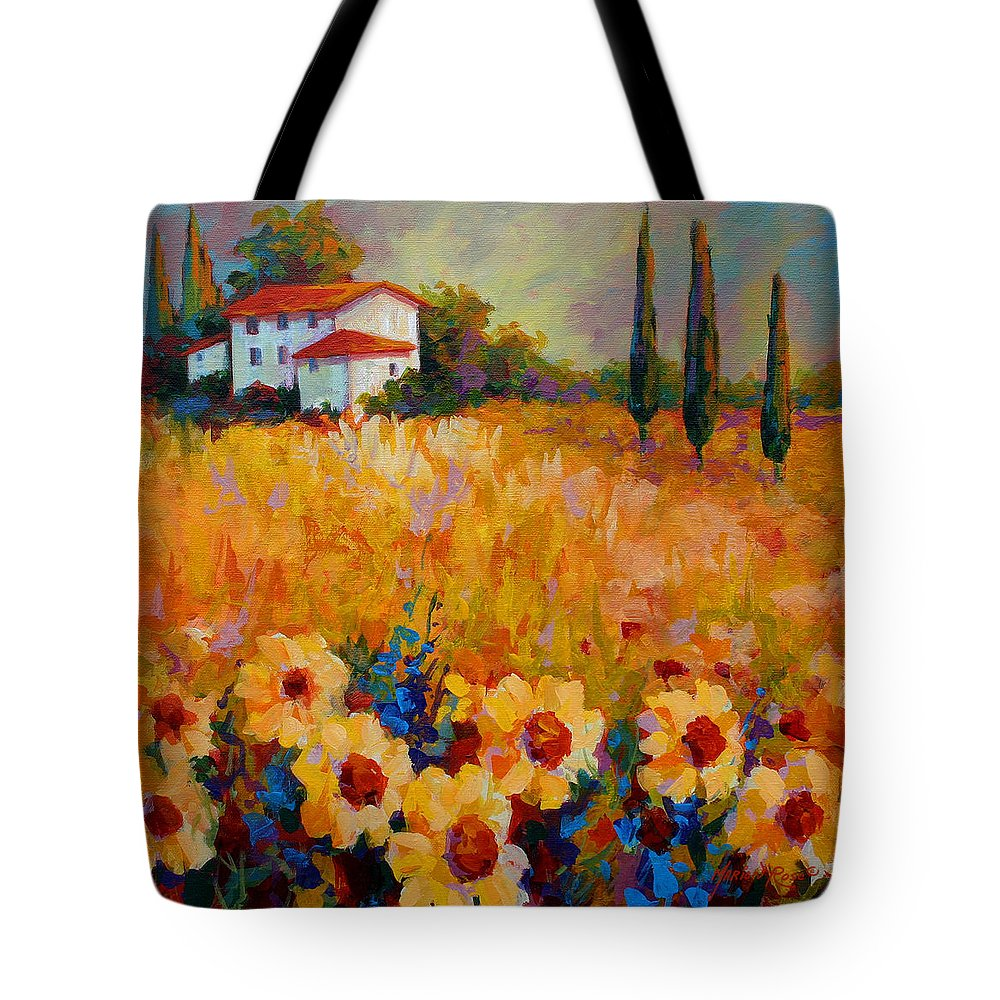 Tuscany Tote Bag featuring the painting Tuscany Sunflowers by Marion Rose