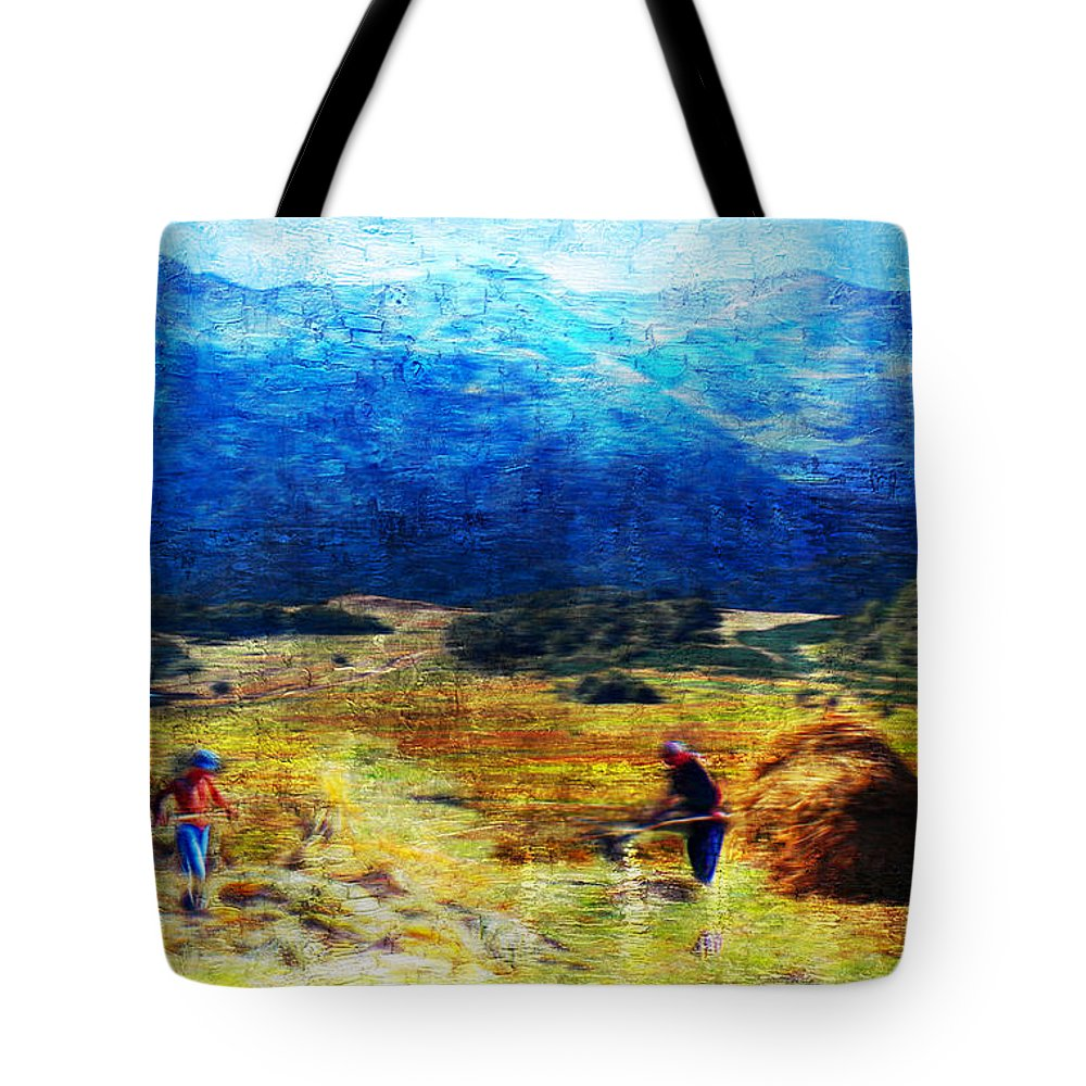 Hay Making Tote Bag featuring the painting Tusheti Hay Makers I by Anastasia Savage Ealy