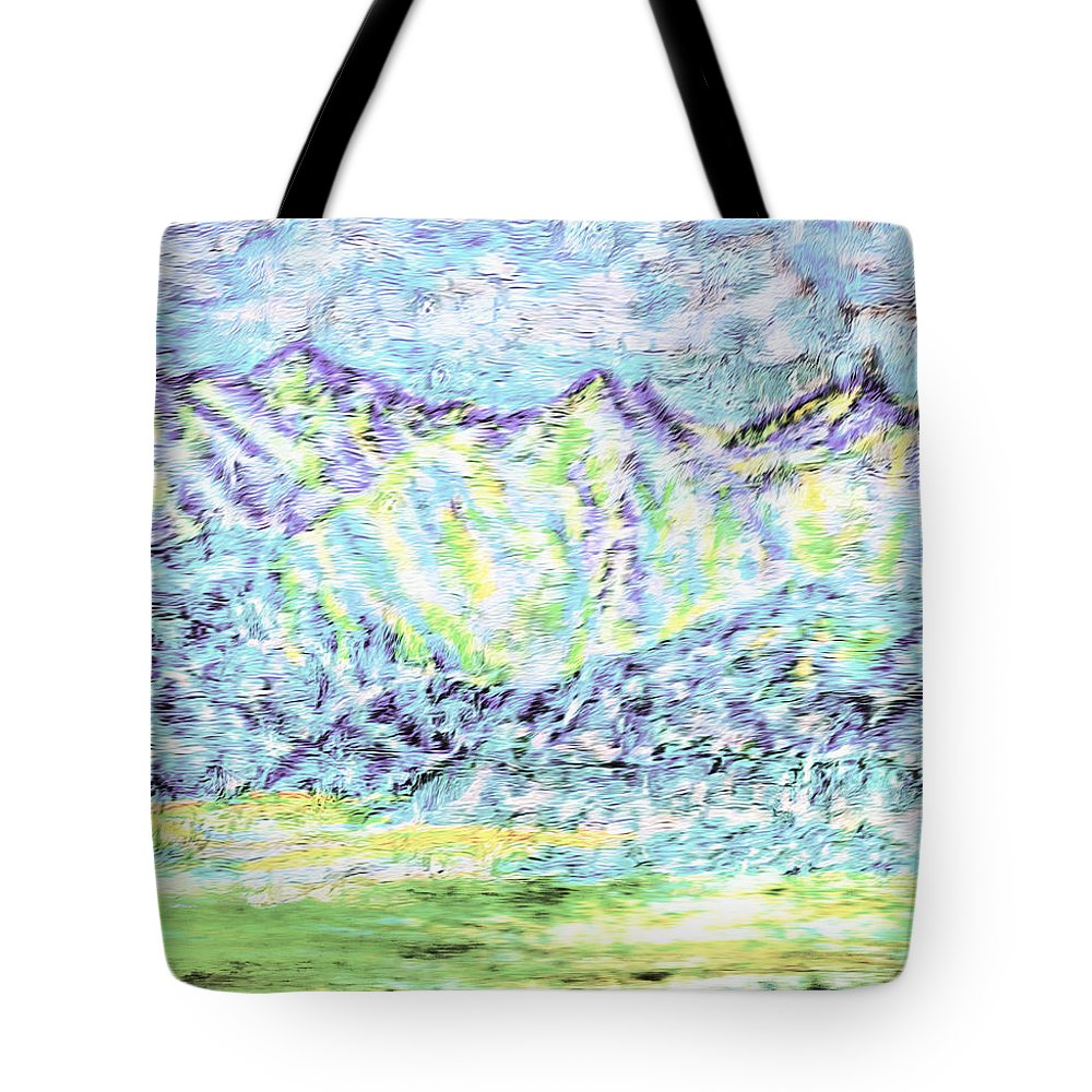 Mountains Tote Bag featuring the painting Tusheti Hay Meadows Caucasus Mountains I by Anastasia Savage Ealy