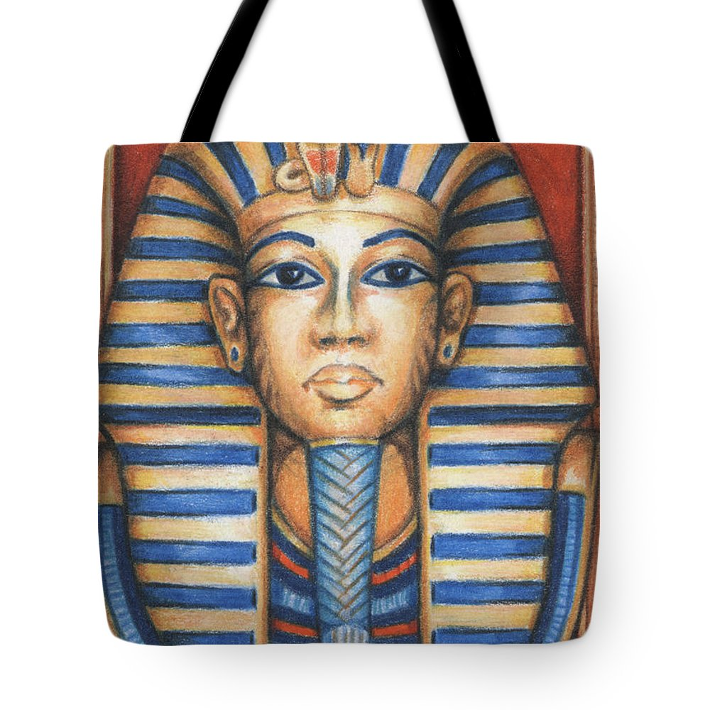 Atc Tote Bag featuring the drawing Tut's Golden Mask by Amy S Turner
