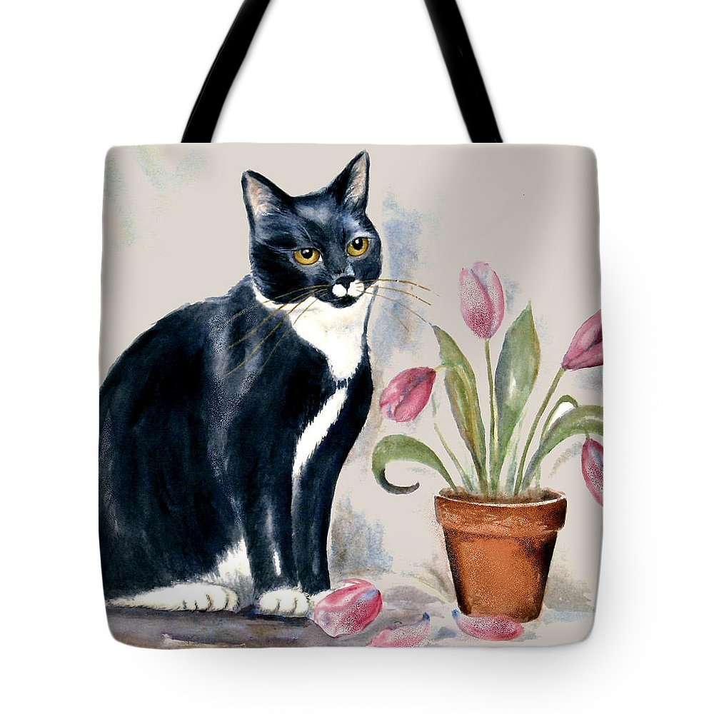 Cat Tote Bag featuring the painting Tuxedo Cat Sitting By The Pink Tulips by Frances Gillotti