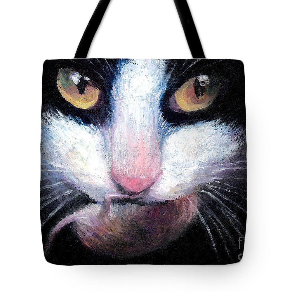 Tuxedo Cat Tote Bag featuring the painting Tuxedo Cat With Mouse by Svetlana Novikova
