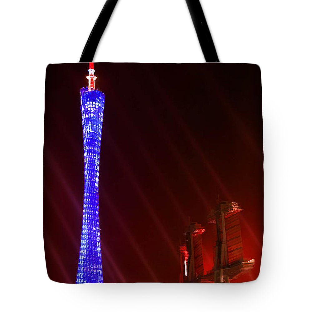 Tv Tower At Night Tote Bag featuring the painting Tv Tower At Night by Jeelan Clark