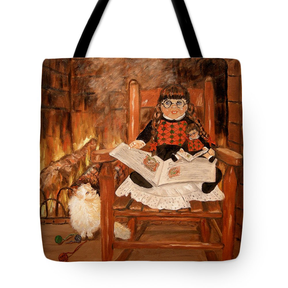 Doll Tote Bag featuring the painting Twice Upon A Time by Quwatha Valentine