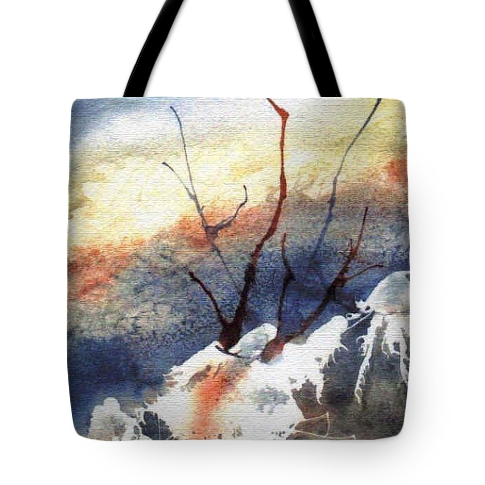 Twigs Tote Bag featuring the painting Twigs-n-ice by Marsha Elliott