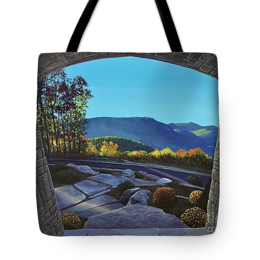 Mountain View Tote Bag featuring the painting Twilight at Hunter Ridge by Hunter Jay