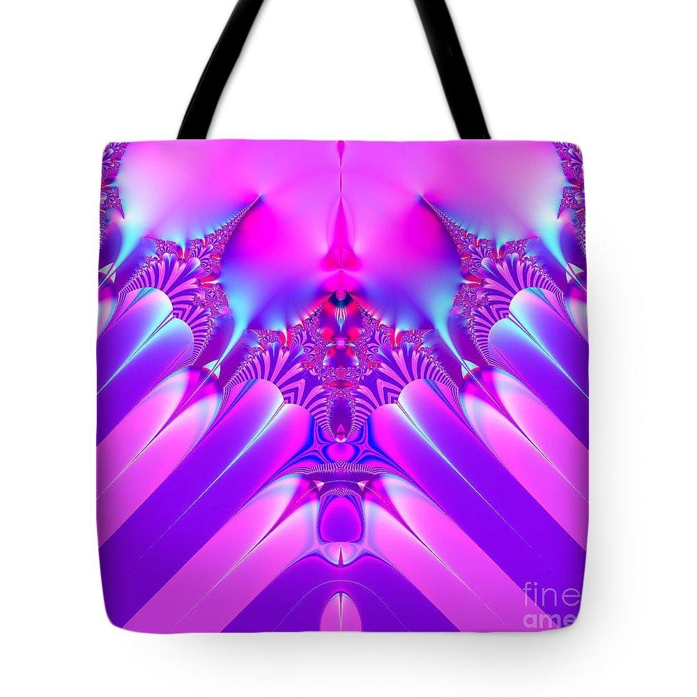 Twilight Descending Fractal Tote Bag featuring the digital art Twilight Descending Fractal by Rose Santuci-Sofranko