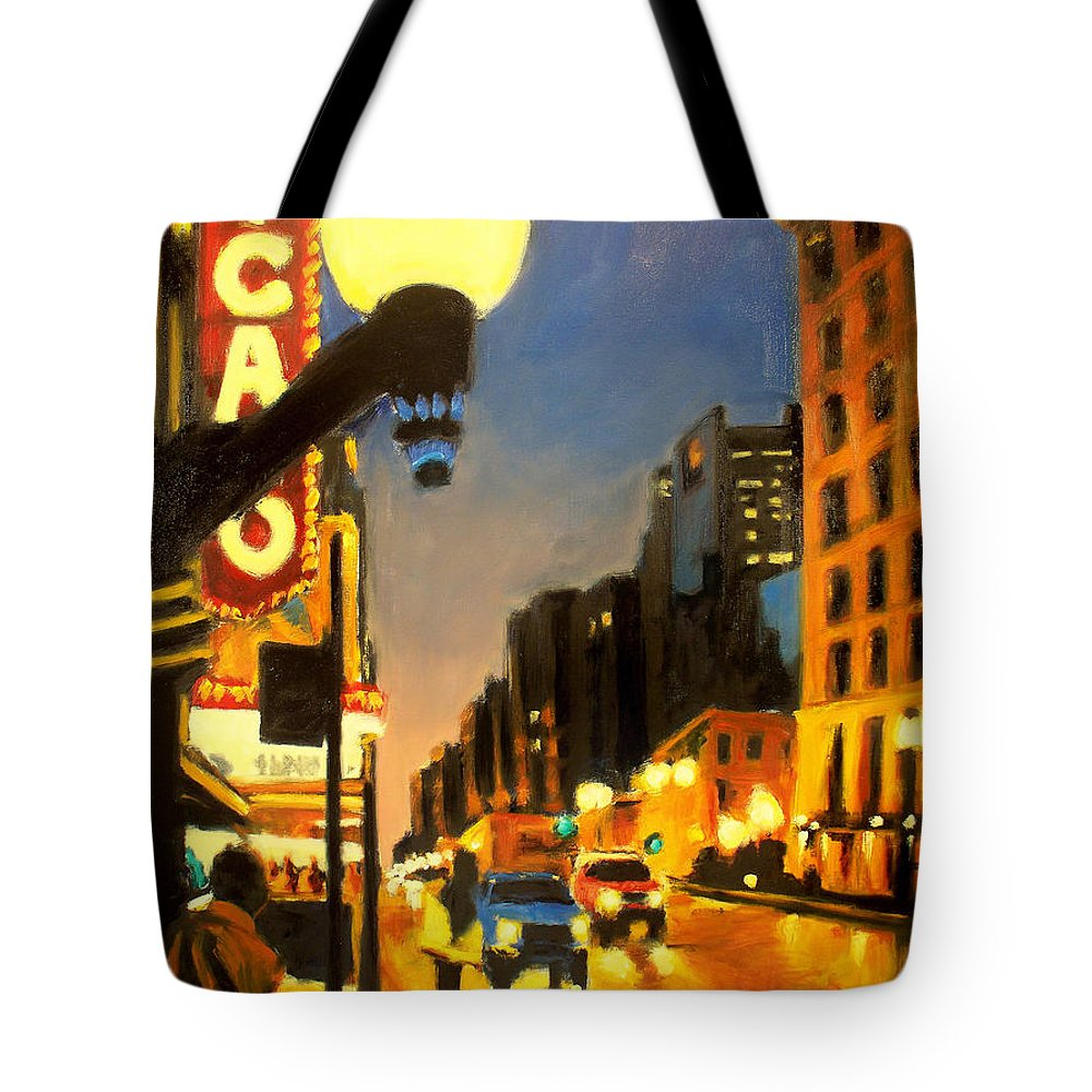 Rob Reeves Tote Bag featuring the painting Twilight In Chicago - The Watcher by Robert Reeves
