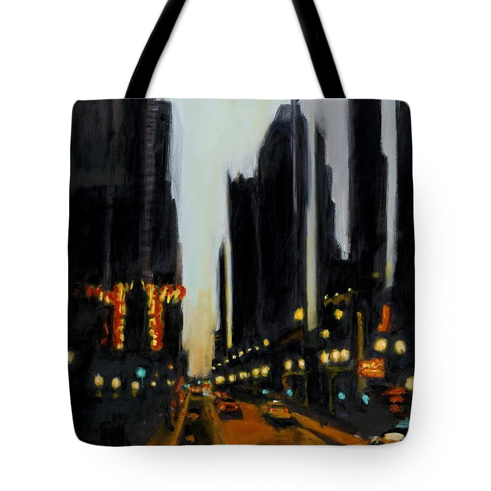 Rob Reeves Tote Bag featuring the painting Twilight In Chicago by Robert Reeves