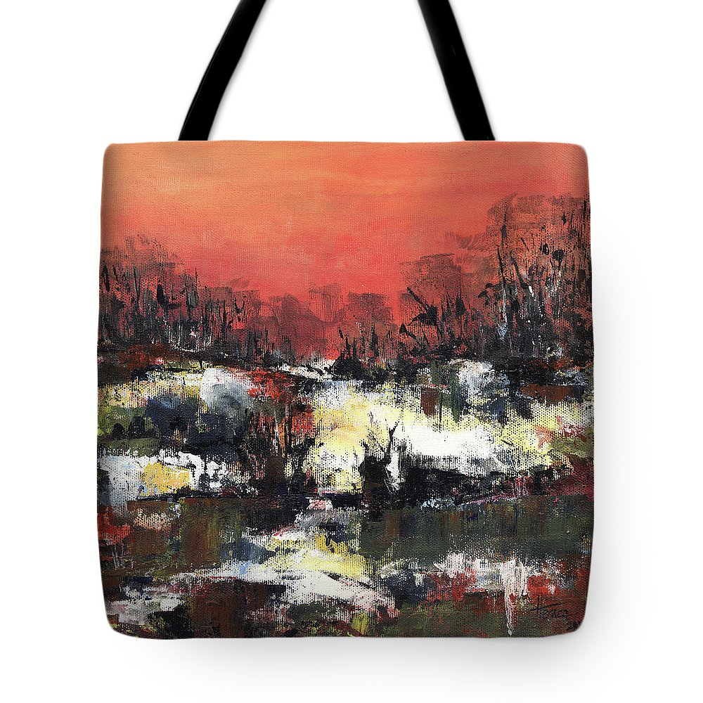 Abstract Tote Bag featuring the painting Twilight Madness by Aniko Hencz
