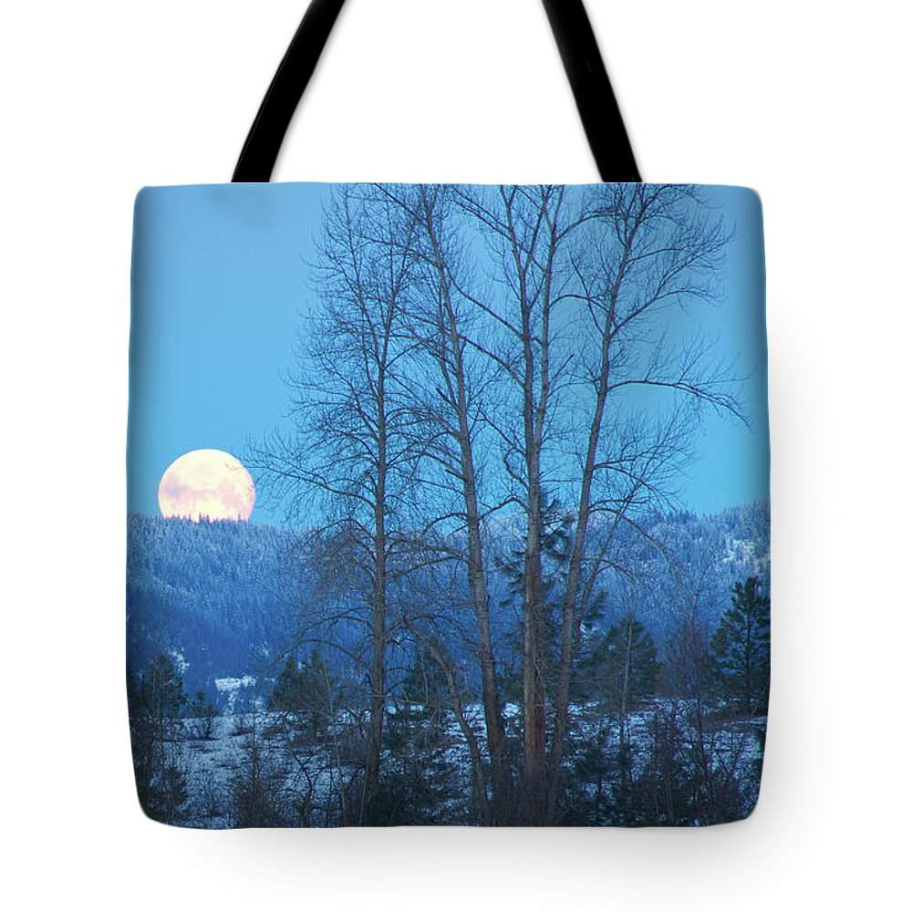 Moon Tote Bag featuring the photograph Twilight Moon by Idaho Scenic Images Linda Lantzy