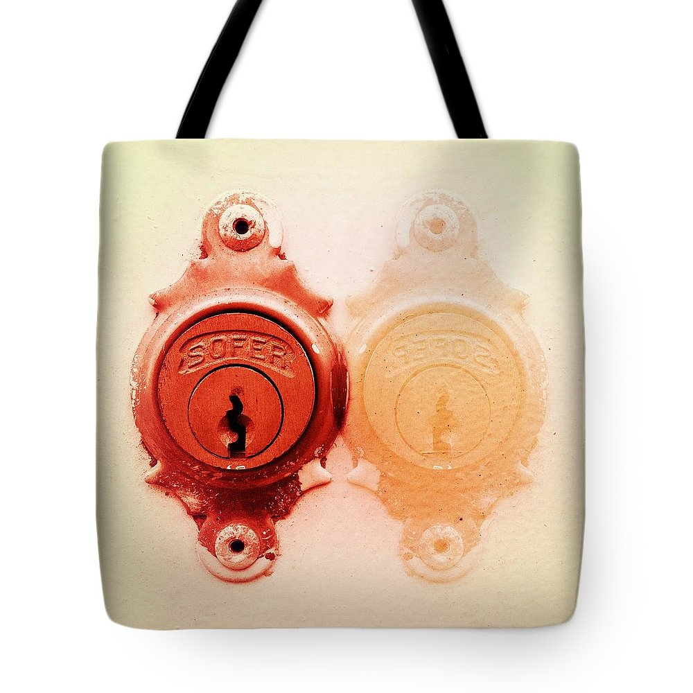 Lock Tote Bag featuring the photograph Twin Lock by Marco Oliveira