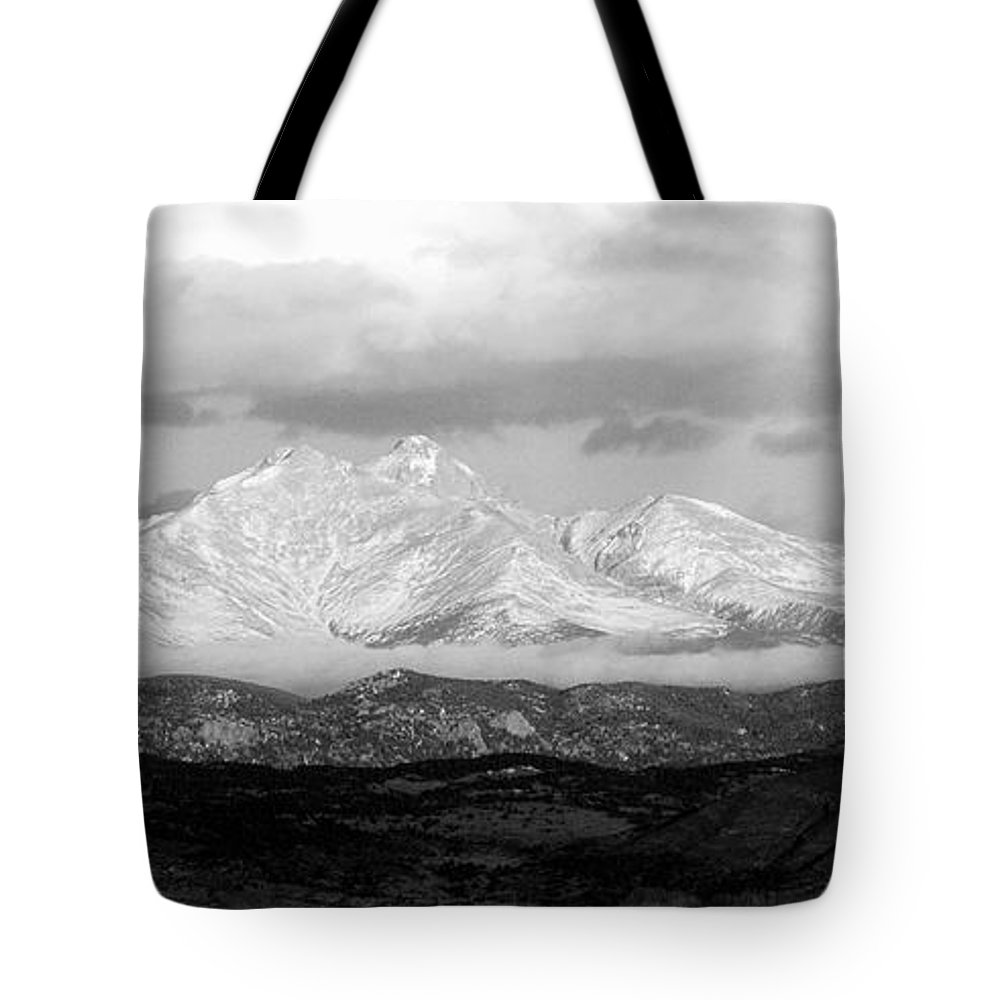 Long Peak; Meeker; Rocky Mountains; Fine Art; Black And White; Bw; Nature Photography; Nature Photography; Landscape Photography; Colorado; Co; Insogna; For Sale Tote Bag featuring the photograph Twin Peaks Black And White Panorama by James BO Insogna