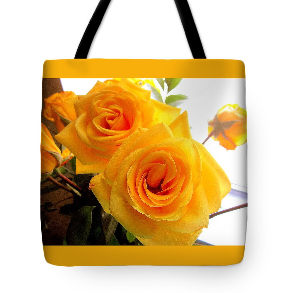 Two Tote Bag featuring the photograph Twin Roses by Abby Humphries