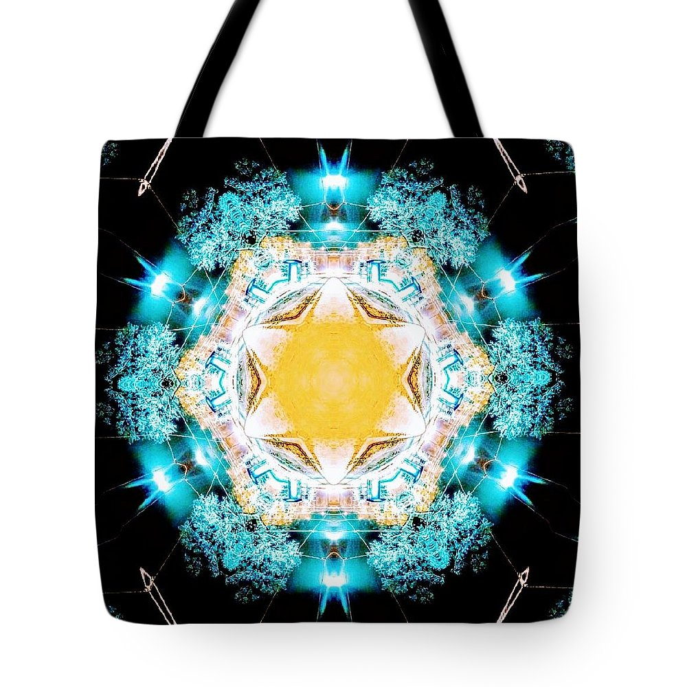 Kaleidoscope Tote Bag featuring the mixed media Twinkle/twinkle by Sascha Angermann