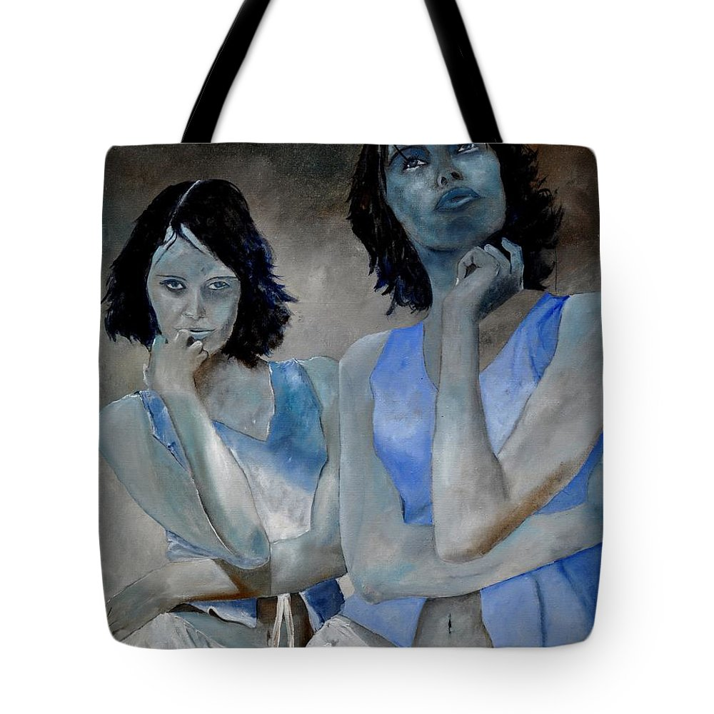 Model Tote Bag featuring the painting Twins by Pol Ledent