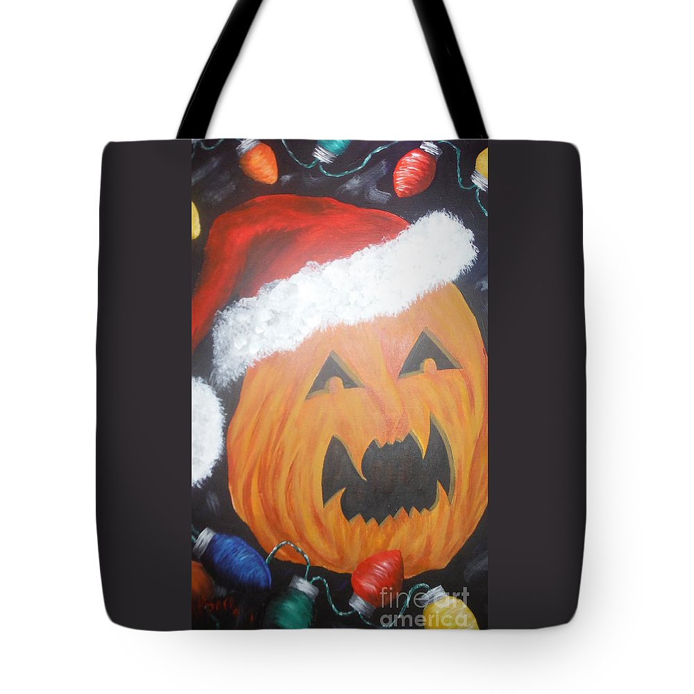 Christmas Tote Bag featuring the painting Twisted by Barbara Stanley