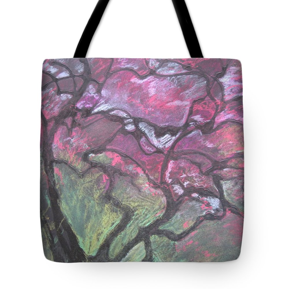 Pastel Tote Bag featuring the drawing Twisted Cherry by Leah Tomaino