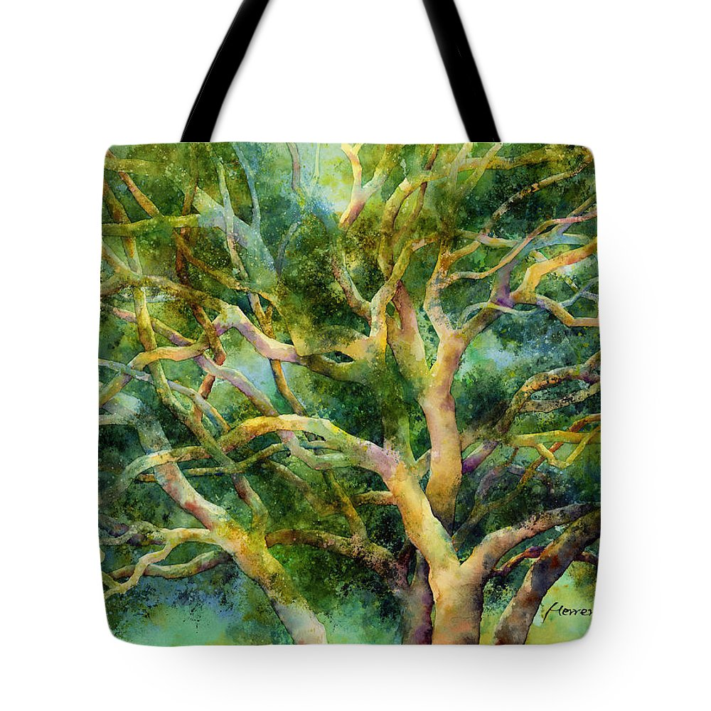 Oak Tote Bag featuring the painting Twisted Oak by Hailey E Herrera