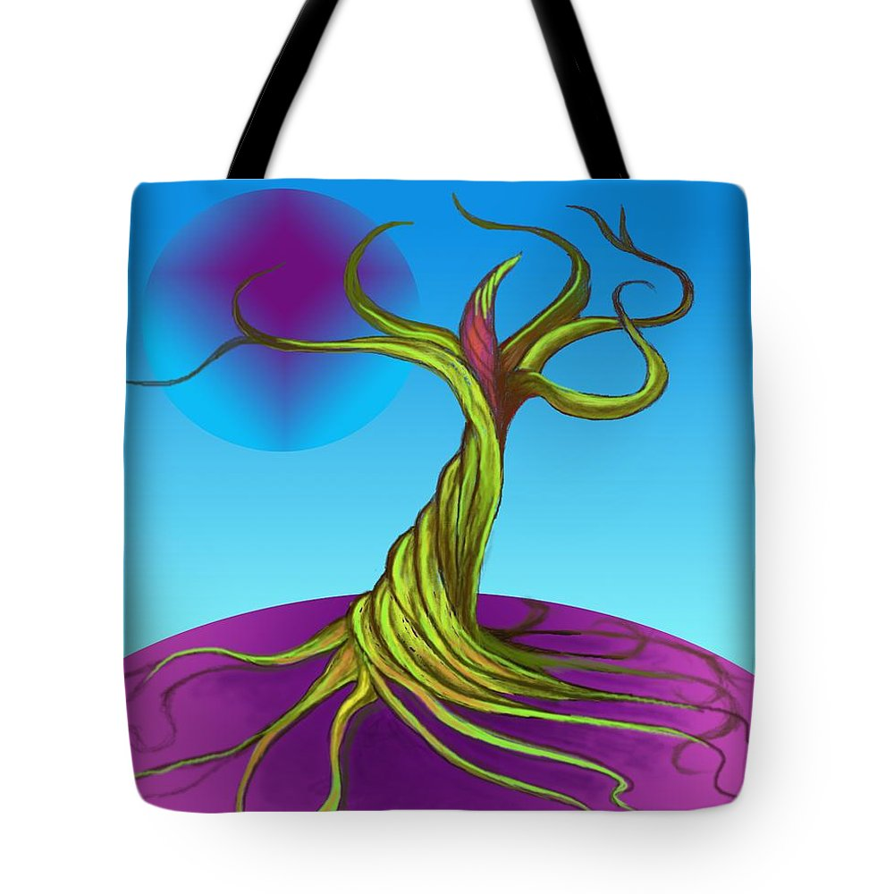 Fantasy.tree Tote Bag featuring the digital art Twisted Tree by David Michael Schmidt
