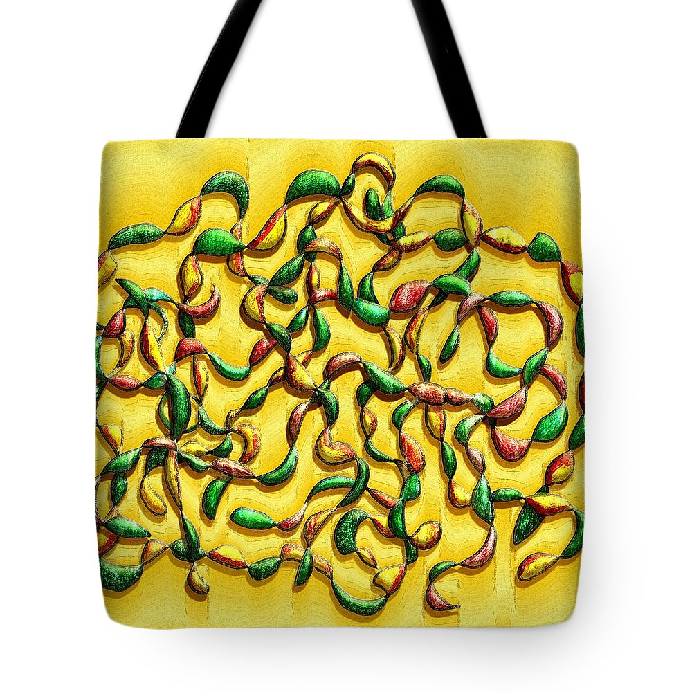 Abstract Tote Bag featuring the digital art Twisted Vines On Yellow by Mark Sellers