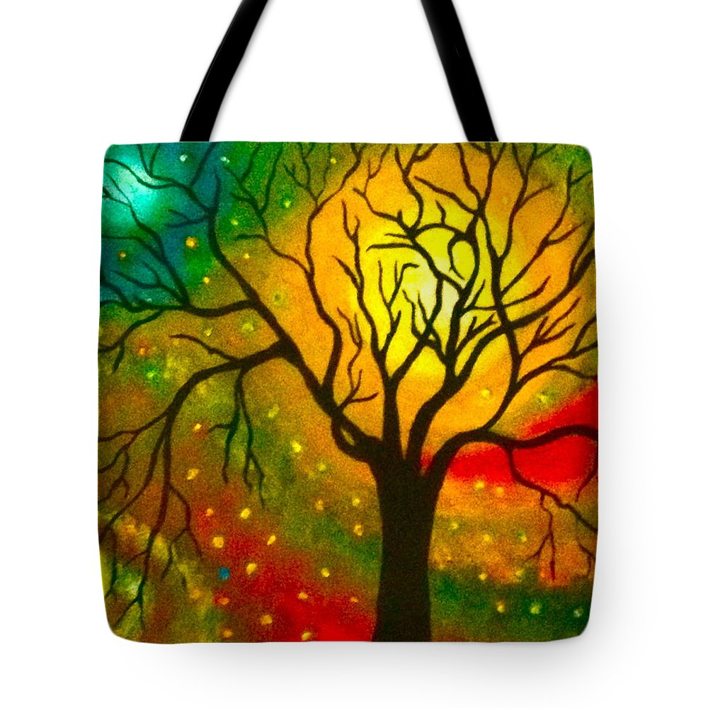 Tree/sky Tote Bag featuring the painting Twlight by Dickie Mohess