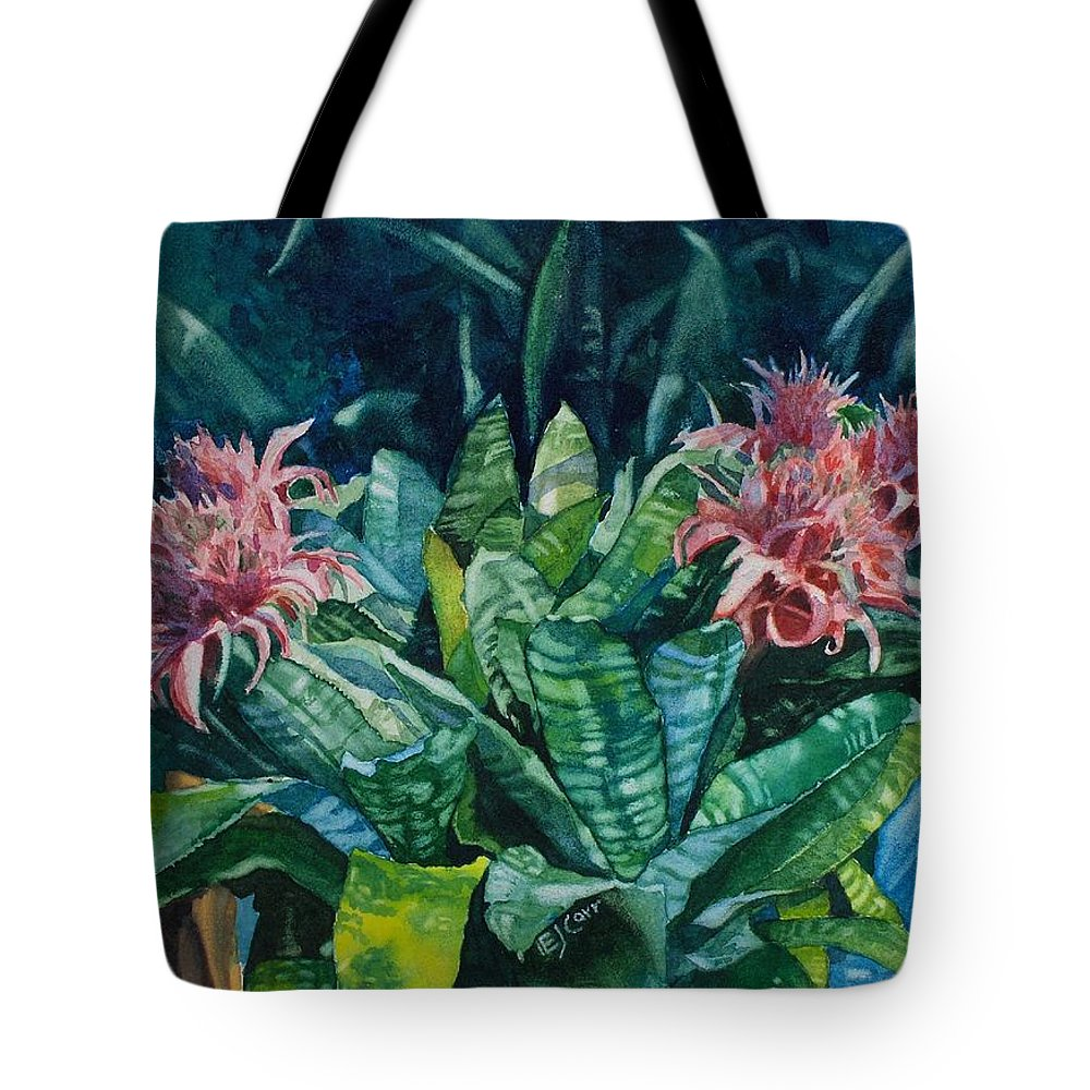 Floral Tote Bag featuring the painting Two Against Three by Elizabeth Carr