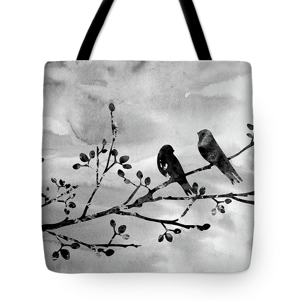 Two Birds On A Flowering Branch Tote Bag featuring the digital art Two Birds-black by Erzebet S