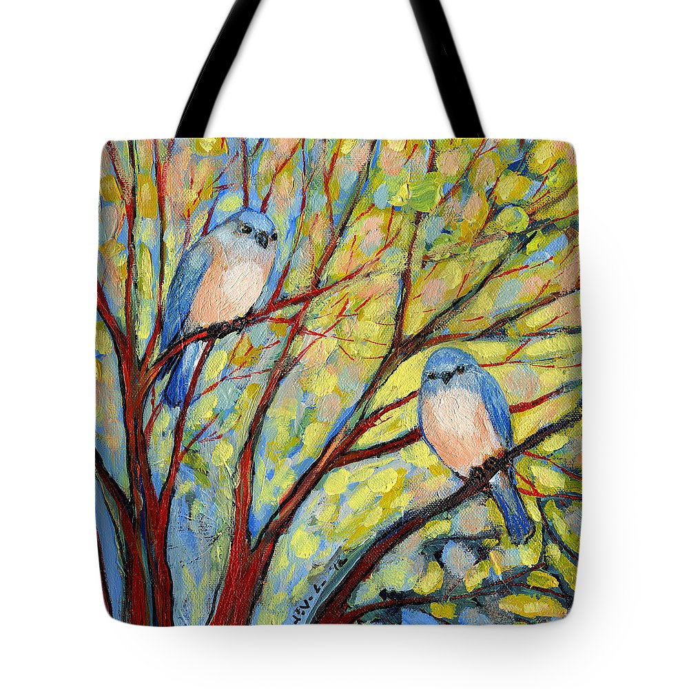 Bird Tote Bag featuring the painting Two Bluebirds by Jennifer Lommers