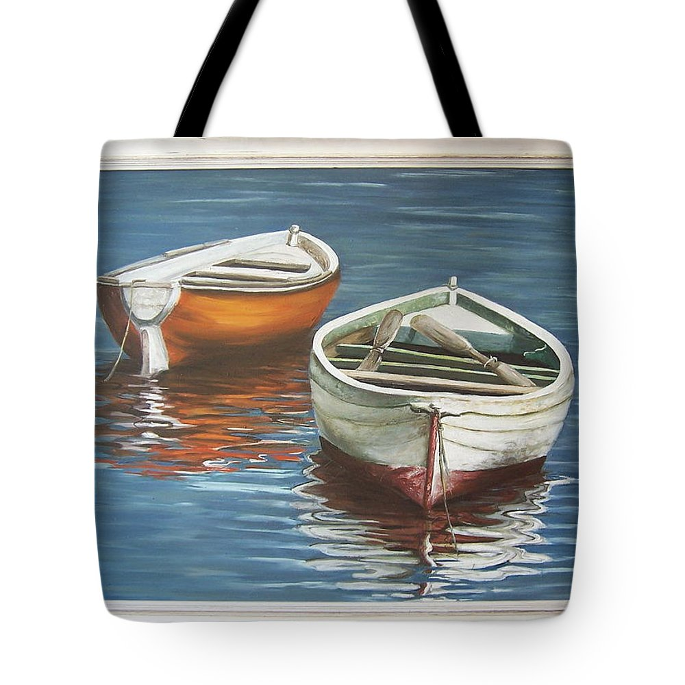 Boats Reflection Seascape Water Boat Sea Ocean Tote Bag featuring the painting Two Boats by Natalia Tejera