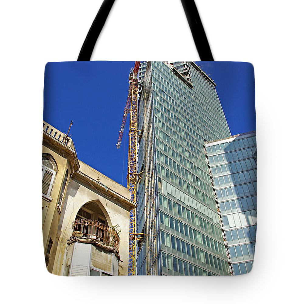 Building Tote Bag featuring the photograph Two Buildings.. by Zalman Latzkovich