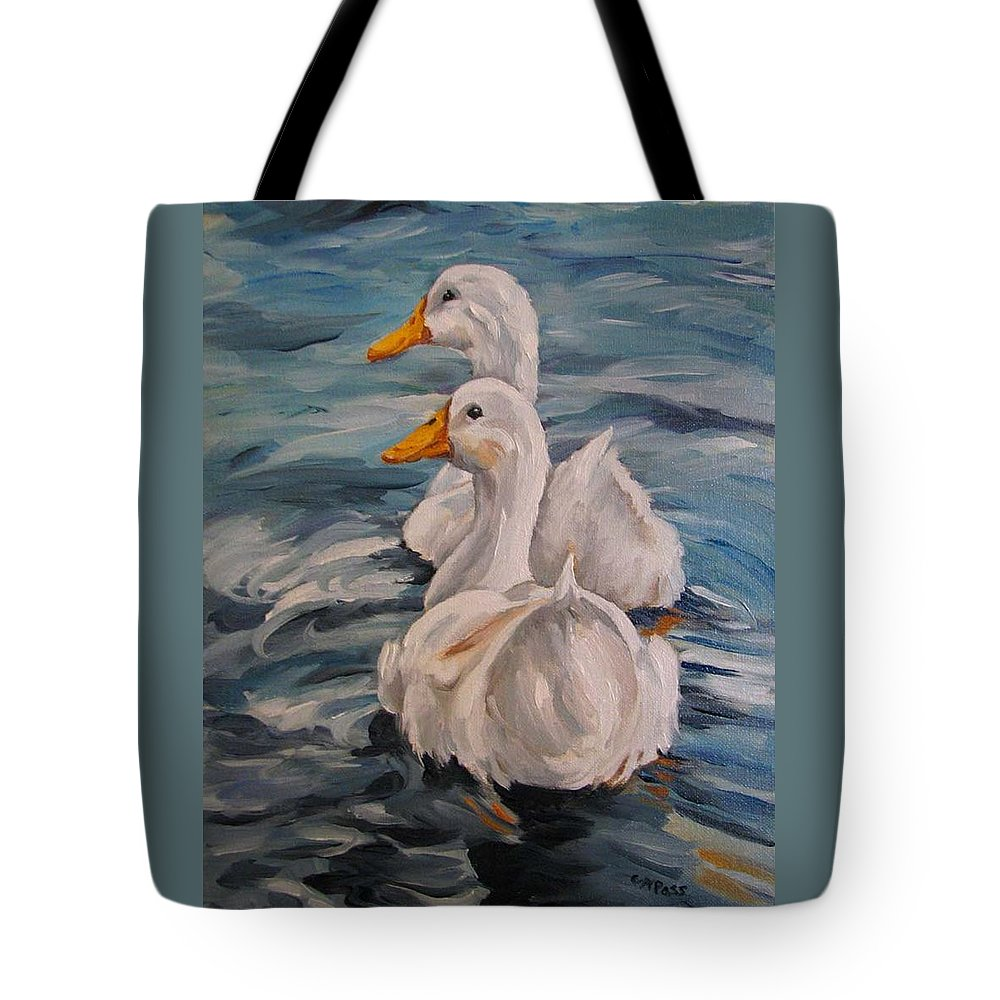 White Ducks Tote Bag featuring the painting Two By Two by Cheryl Pass