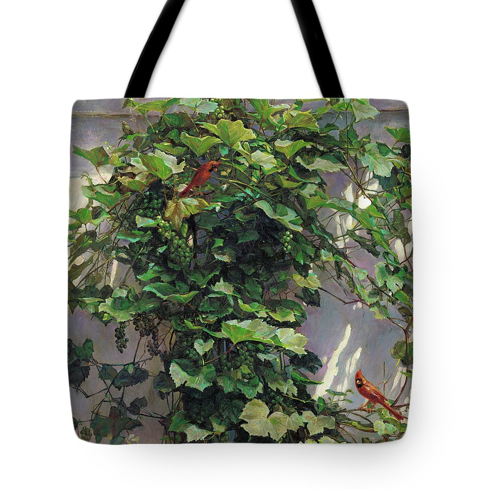 American Tote Bag featuring the painting Two Cardinals On The Vine Tree by Svitozar Nenyuk