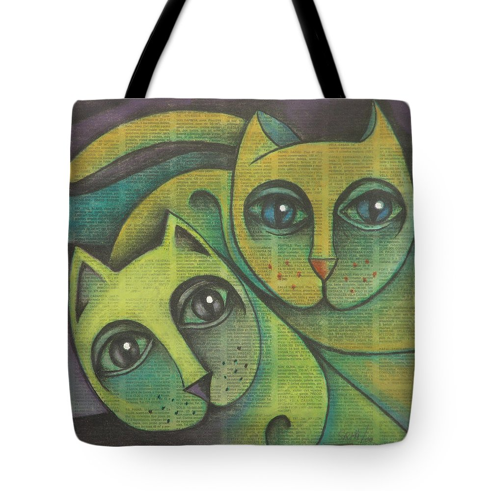 Sacha Circulism Circulismo Tote Bag featuring the drawing Two Cats 2000 by S A C H A - Circulism Technique