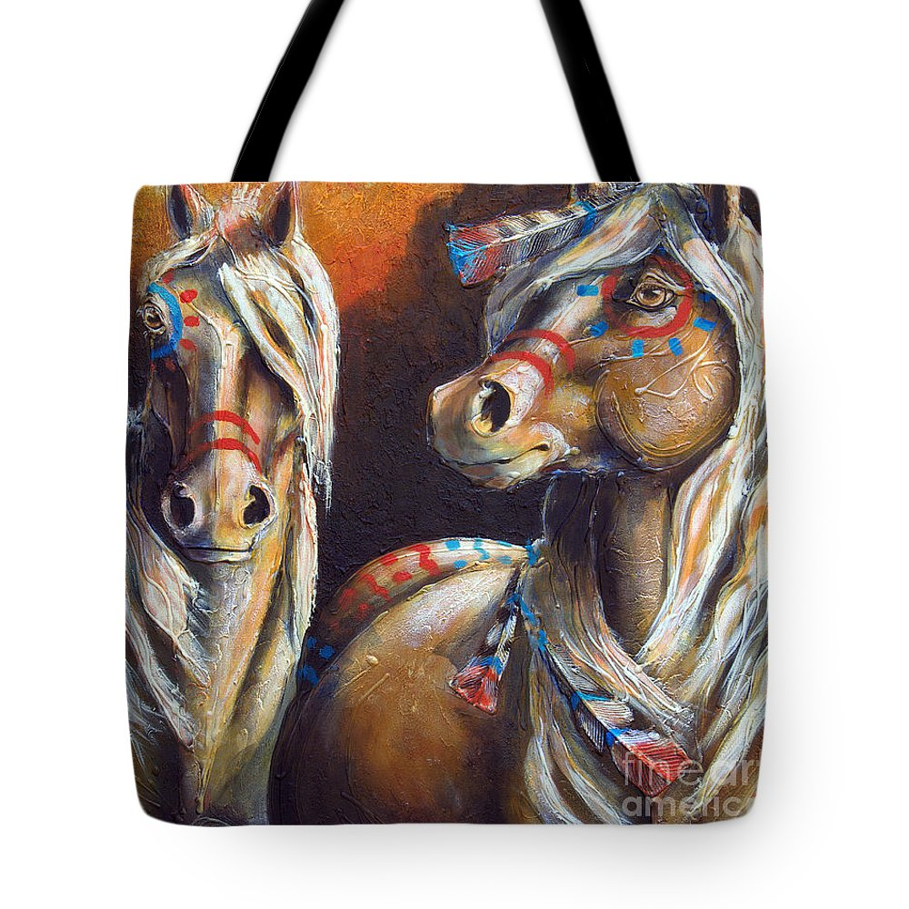 Horse Tote Bag featuring the painting Two Coins by Jonelle T McCoy