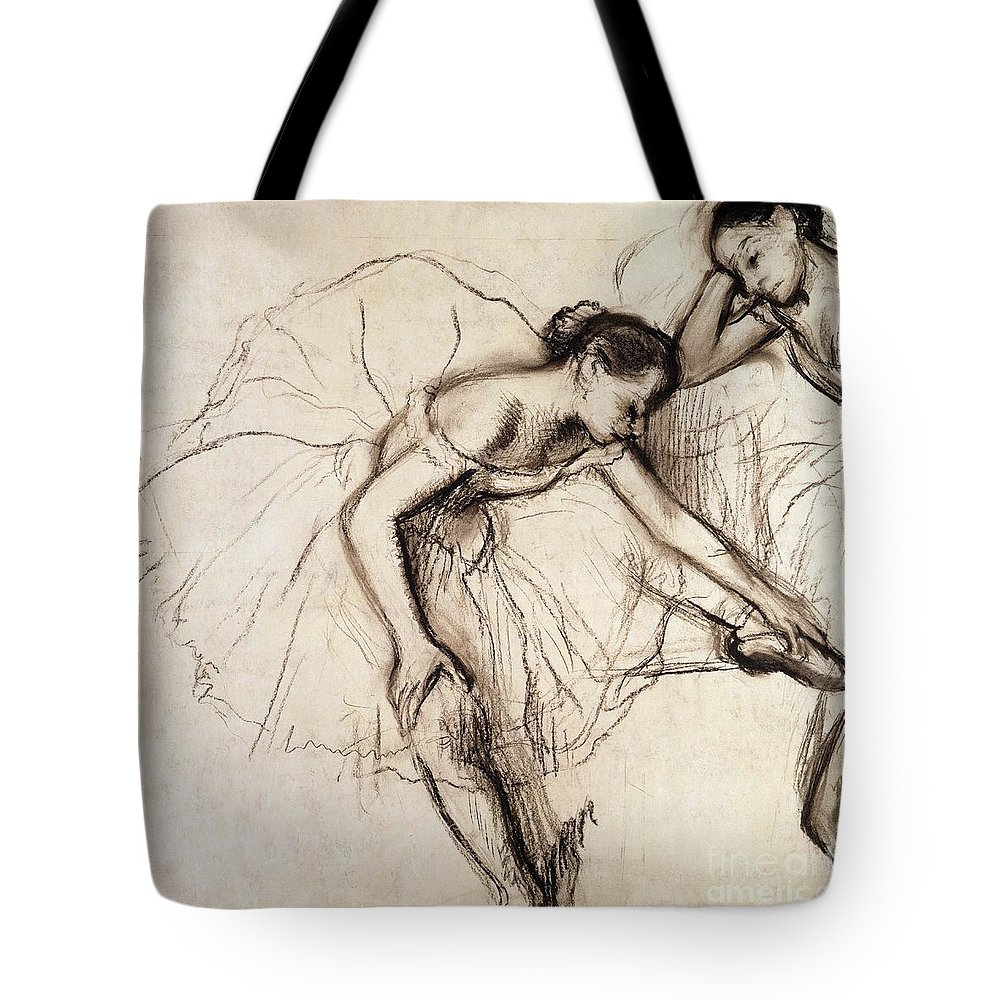 Degas Tote Bag featuring the drawing Two Dancers Resting by Edgar Degas