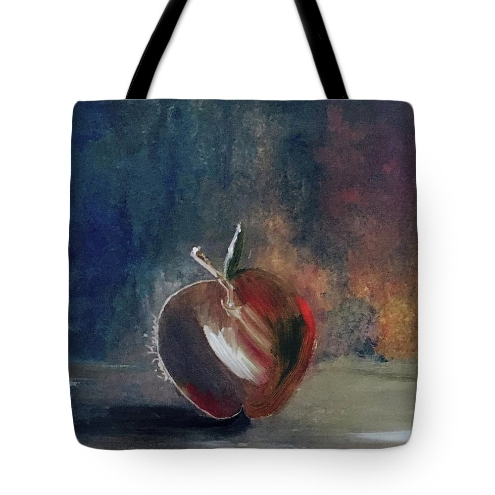 Apple Tote Bag featuring the painting Two Dimensional Apple by Lisa Kaiser