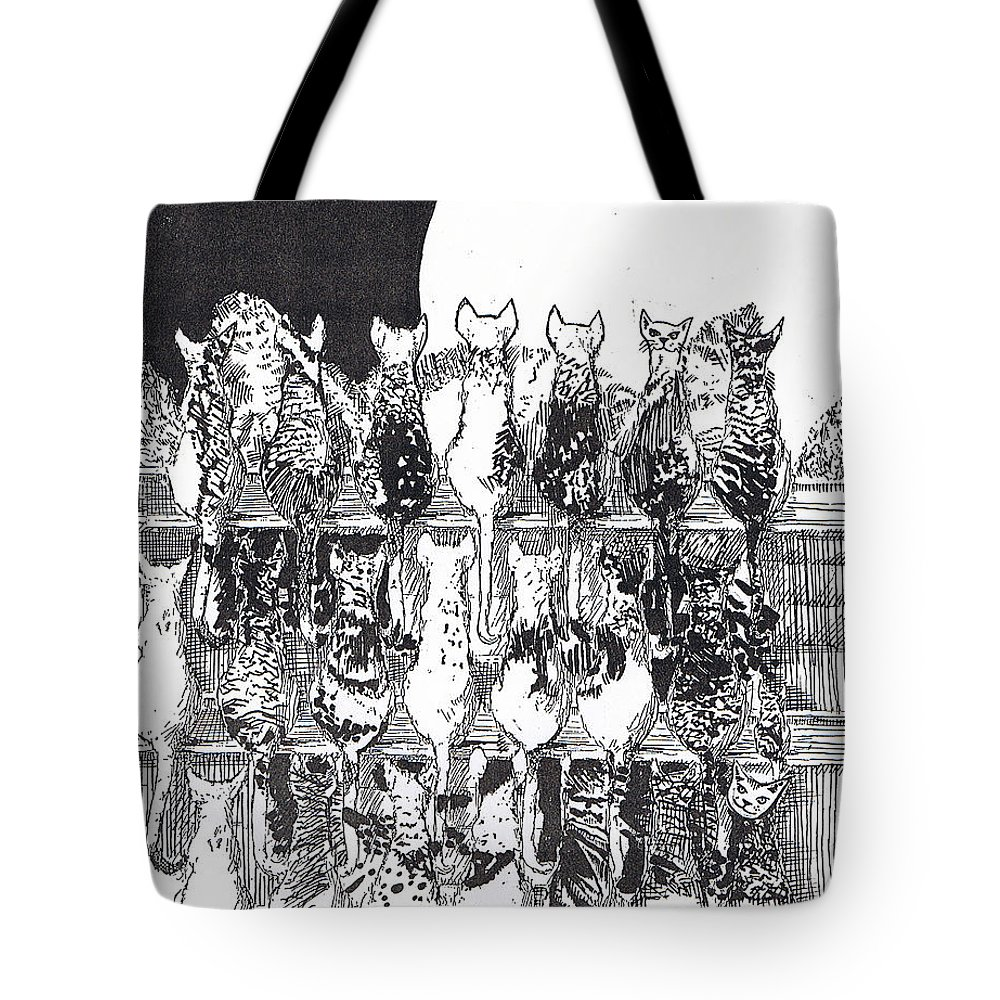 Cats Tote Bag featuring the drawing Two Dozen And One Cats by Seth Weaver