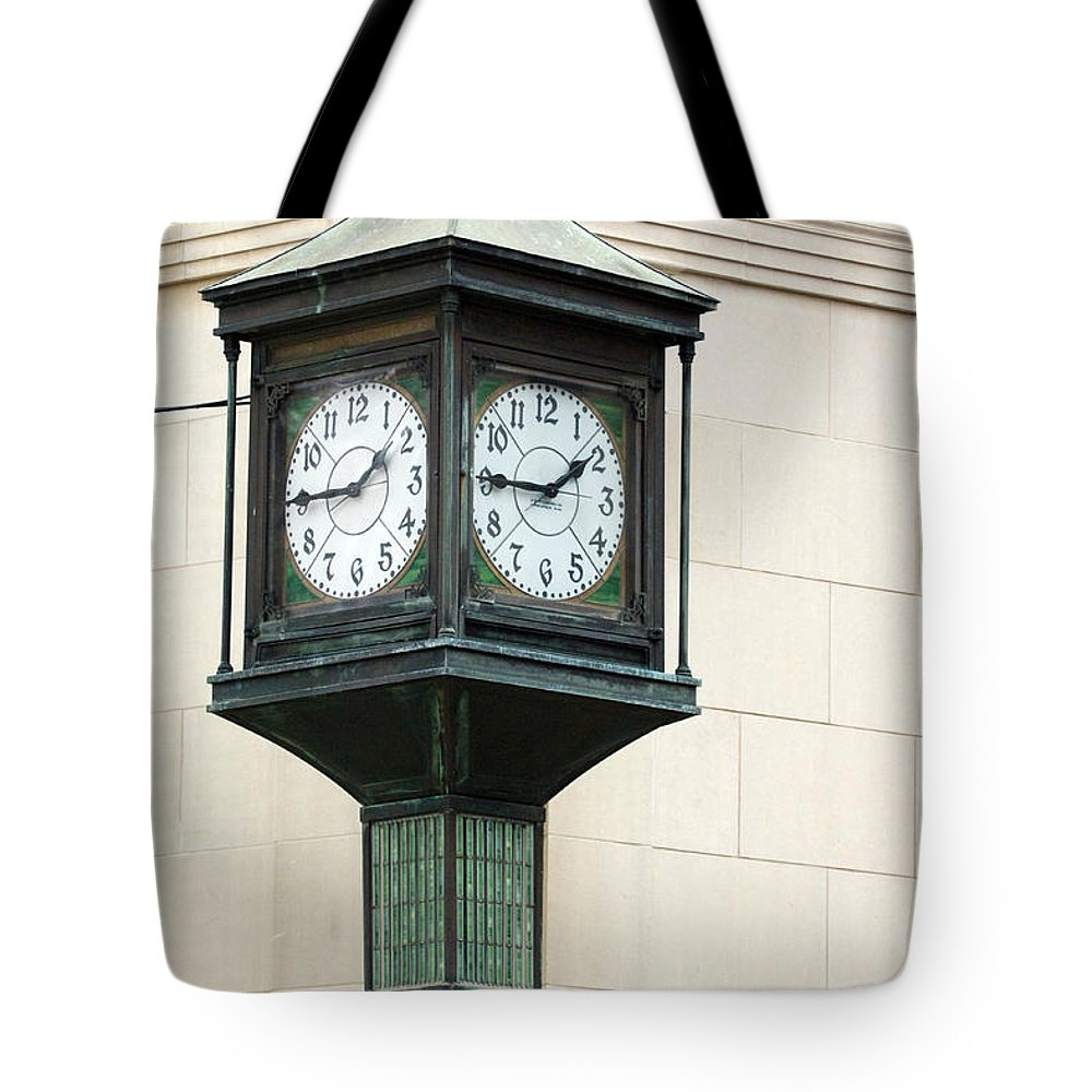 Time Clock Architecture Green Urban City Tote Bag featuring the photograph Two Faced Time by Jill Reger