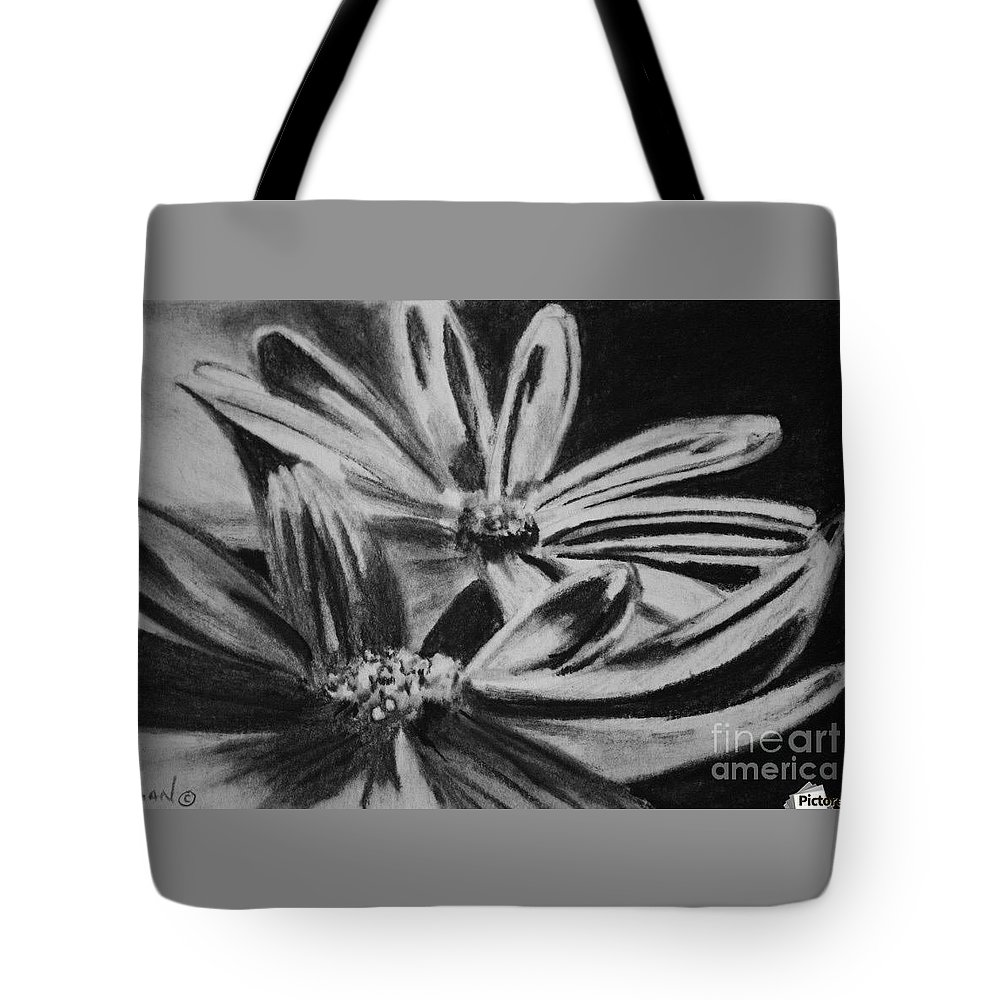 Flowers Tote Bag featuring the drawing Two Flowers by Regan J Smith